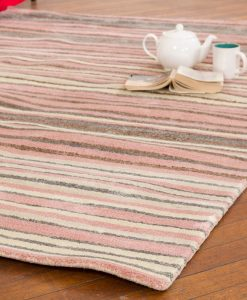 Stripe Rug Wool Jute Bamboo 130x190cm Strawberry Mouse 2
